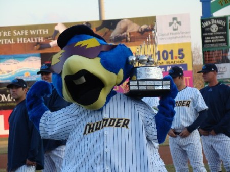 Boomer with Eastern League championship trophy / Photo by Mike Ashmore