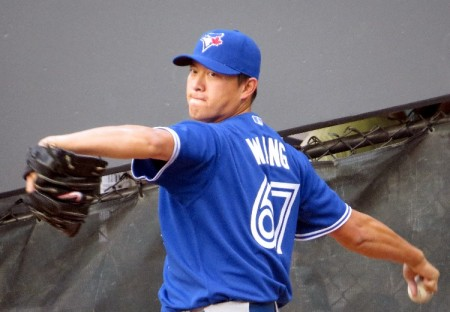 Former Thunder pitcher Chien-Ming Wang allowed five runs in his first Blue Jays start.